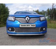 Renault Sandero 2014- Решётка радиатора верхняя (лист) 1мм ( компл ) Артикул: RENSAN15-02