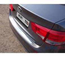 Kia Rio 2011-2014 Накладка на задний бампер (лист зеркальный) ( компл ) Артикул: KIARIO11-05