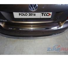 Volkswagen Polo 2016- Накладка на задний бампер (лист зеркальный) ( шт ) Артикул: VWPOLO16-12